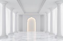 Imagem interior da rendição 3d do espaço clássico vazio branco luxuoso da sala Ilustração Stock