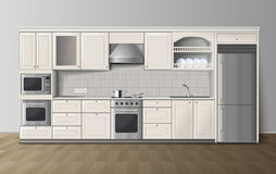 Imagem interior realística branca da cozinha luxuosa Imagens de Stock