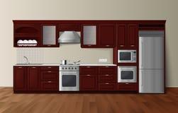 Imagem interior realística escura da cozinha luxuosa Imagens de Stock