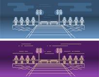 Imagem linear do vetor do cais na água, com os elementos de iluminação ilustração royalty free