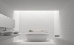 Imagem mínima interior da rendição do estilo 3d do banheiro branco moderno Foto de Stock Royalty Free