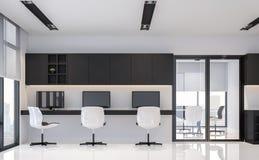 Imagem mínima interior da rendição do estilo 3d do escritório preto e branco moderno Imagens de Stock Royalty Free