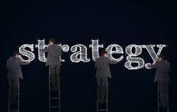 Imagem múltipla de uma estratégia da escrita do homem de negócios foto de stock royalty free