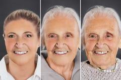 Imagem múltipla que mostra o processo do envelhecimento de mulher fotos de stock