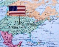 Imagem macro de um mapa de América Foto de Stock Royalty Free