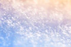 Imagem macro dos flocos de neve, foco seletivo Fotografia de Stock