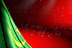A imagem maravilhosa da bandeira de Mauritânia pendura no canto no vermelho com foco macio e no espaço livre para seu texto - tod ilustração royalty free