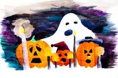 A imagem mostra abóboras assustadores e Ghost com velas ardentes na noite de Dia das Bruxas ilustração royalty free