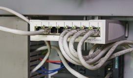A imagem mostra a Schneider o interruptor da fibra multimodo Imagens de Stock Royalty Free