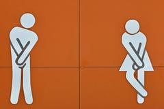 Imagem na construção do toalete na praia Imagens de Stock