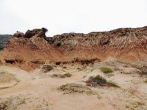 Imagem panorâmico em blefes e em tidepools do monumento nacional de Cabrillo Os blefes e os tidepools litorais são encontrados ao imagem de stock