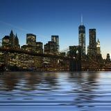 Imagem panorâmico Manhattan do centro na noite foto de stock royalty free