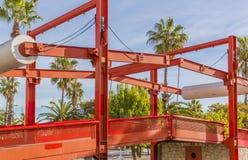 Imagem parcial da ponte vermelha fotografia de stock