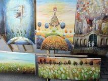 Imagem pintada, venda da rua Fotografia de Stock Royalty Free