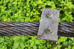 Imagem próxima de uma corda de fio de um passadiço búlgaro velho da suspensão, fundo verde natural borrado imagens de stock