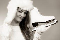 Imagem preto e branco com menina agradável Fotos de Stock