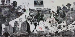 Imagem preto e branco da parede em Boston Fotos de Stock Royalty Free