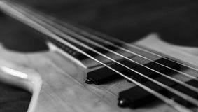 Imagem preto e branco de uma guitarra-baixo de 5 cordas Imagens de Stock