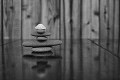 Imagem preto e branco de uma pilha de rochas de Granit e de uma concha do mar velha Imagens de Stock Royalty Free