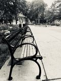 Imagem preto e branco de Washington Park Cincinnati de bancos de parque foto de stock
