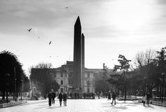 Imagem preto e branco do obelisco de Theodosius em Istambul H fotos de stock royalty free