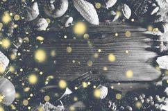 Imagem preto e branco Fundo da ação de graças com neve de queda do ouro Abóboras e vários frutos do outono Quadro com ing sazonal Fotografia de Stock Royalty Free