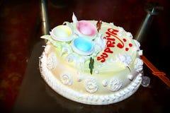 Imagem projetada do bolo do feliz aniversario Imagens de Stock