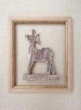 Imagem quadro Natal com a rena em lãs Fotos de Stock