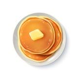 Imagem realística da opinião superior das panquecas do café da manhã Fotos de Stock