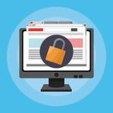 Imagem relativa à segurança em linha dos ícones Foto de Stock