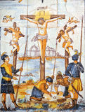 A imagem religiosa, Jesus é pregada à cruz, através de Crucis foto de stock royalty free