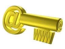 Imagem rendida da chave estilizado do ouro Fotos de Stock Royalty Free