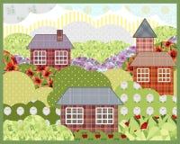 Imagem retro da paisagem da natureza do verão dos retalhos do fundo Imagem de Stock Royalty Free