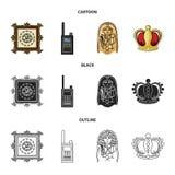 Imagem, sarcófago do faraó, Walkietalkie, coroa Ícones ajustados da coleção do museu nos desenhos animados, preto, estilo do esbo Fotografia de Stock Royalty Free