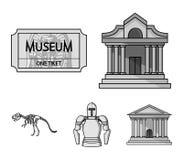 Imagem, sarcófago do faraó, Walkietalkie, coroa Os ícones ajustados da coleção do museu no estilo monocromático vector o símbolo ilustração do vetor