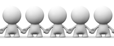 Imagem sem emenda dos caráteres brancos do ser humano 3d que guardam as mãos Foto de Stock