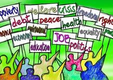Imagem social do conceito dos problemas Um protesto do grupo de pessoas para reforçar seus direitos ilustração do vetor