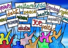Imagem social do conceito dos problemas Um protesto do grupo de pessoas para reforçar seus direitos - ilustração do conceito ilustração stock