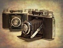 Imagem Textured de câmeras da película do vintage Imagens de Stock Royalty Free