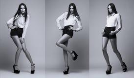 Imagem tripla do mesmo modelo de forma em poses diferentes Fotografia de Stock