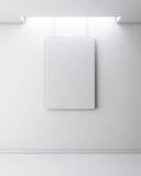 Imagem vazia na parede branca Interior da galeria com quadro vazio o Imagens de Stock