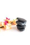 Imagem vertical das pedras e das flores em um fundo branco Fotos de Stock Royalty Free