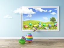 Imagem viva - ovos da páscoa no prado de florescência Foto de Stock Royalty Free