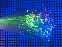 Imagen óptica de la fibra con los detalles y la luz Foto de archivo