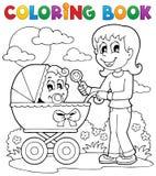 Imagen 2 del tema del bebé del libro de colorear Foto de archivo libre de regalías