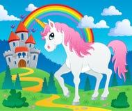 Imagen 2 del tema del unicornio del cuento de hadas Fotografía de archivo libre de regalías