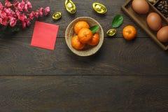 Imagen aérea de la endecha plana de las vacaciones lunares de los accesorios y del día de fiesta chino del Año Nuevo Imagen de archivo libre de regalías