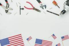 Imagen aérea de la opinión de sobremesa de la decoración la muestra del Día del Trabajo en septiembre 3,2018 de los E.E.U.U. Foto de archivo