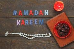 Imagen aérea de la opinión de sobremesa de la decoración Ramadan Kareem fotos de archivo libres de regalías