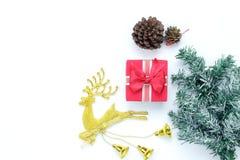Imagen aérea de la visión de arriba de la Feliz Navidad de las decoraciones de los artículos y del concepto del fondo de la Feliz Fotografía de archivo